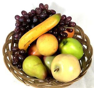 Fruit Basket Lot Realistic Display Prop Faux Home Décor 12pieces Rubber Plastic