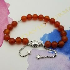 David Yurman Sterling Silver 8'mm Carnelian Spiritual Bead Bracelet Adjustable