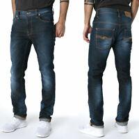 Nudie Herren Slim Fit Bio Denim Stretch Jeans Hose - Thin Finn Cloudy Steel