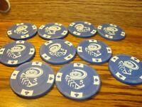 #10 Collectible Vintage BAKELITE Poker Chip Golf Ball Marker Card Guard Blue $5