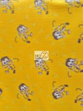 """MONKEY AND BANANAS FLEECE PRINTED FABRIC 60"""" WIDTH SOLD BY YARD ANTI-PILL 851"""