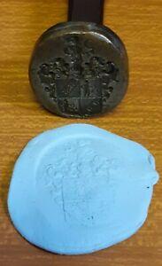 Vintage Heavy Metal Wax Hand Stamp - Unknown Heraldic Crest