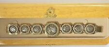 "Ancient Greek Coin 14K Yellow Gold 3 Carats 150 Round Diamond Bracelet 7"" #S314"