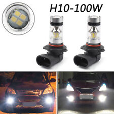 2x 100W H10 9145 High Power LED 6000K Super White Fog Light Lamp DRL Bulbs