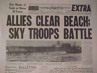 VINTAGE NEWSPAPER HEADLINE~WORLD WAR HITLER NAZI FRANCE D-DAY INVASION 1945 WWII