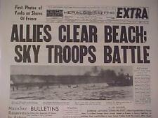 VINTAGE NEWSPAPER HEADLINE ~WORLD WAR 2 HITLER NAZI FRANCE D-DAY INVASION WWII~