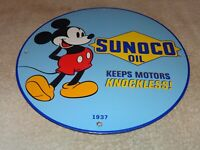 """VINTAGE 1937 """"SUNOCO OIL AND MICKEY MOUSE"""" 11 3/4"""" PORCELAIN METAL GASOLINE SIGN"""