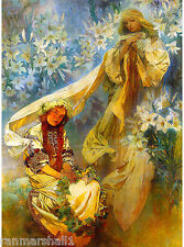 Madonna of  Lilies French Nouveau Alphonse Mucha Vintage Advertisement Poster