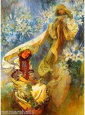 Madonna of  Lilies French Nouveau Alphonse Mucha Vintage Advertisement Poster