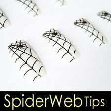 70x Pre-design French Acrylic False Nail Tips Spider 12