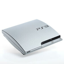 SILVER CARBONIO PS3 SLIM CON TEXTURE pelle-Full Body Wrap-Decalcomania Adesivo Cover