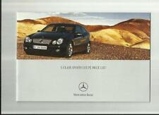 MERCEDES BENZ C-CLASS SPORTS COUPE PRICE LIST BROCHURE OCTOBER 2004