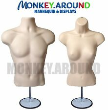 2 Mannequin +2 Stand 2 Hook, Male Female Flesh Dress Body Form Display Clothing