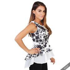 Geblümte Damenblusen,-Tops & -Shirts mit Rundhals und Polyester für Freizeit