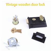 Old Vintage Cast Iron Home Bedroom Rim Door Lock Bathroom Latch +Knob Handle