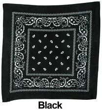 Bandana 100% Cotton FaceMask Bandanas Head Wrap Scarf Paisley Solid Handkerchief