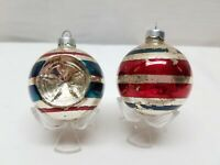 Vintage Shiny Brite Glass Christmas Tree Ornaments Stripe Ball Silver Indent Lot