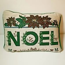 Holiday Tapestry Pillow NOEL Christmas Plush 13x9 Poinsettia Green Red