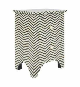 Handmade Bone Inlay Bedside Table Home Decor Purpose Attractive Design Crafted