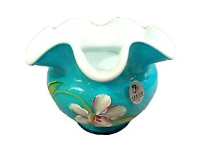 QVC Fenton Glass Sky Blue Overlay Handpainted Floral Ruffled Vase, new in box