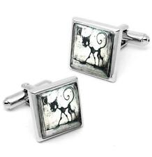 Gothic Black Kitty Cat & Moon Sterling Silver Glass Halloween Cufflink Set w/Box