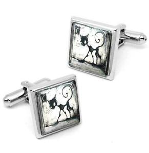 Gothic Black Kitty Cat & Moon Sterling Silver Glass Halloween Cufflink Set w/Box