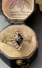 Antique Black Enamel Yellow Gold 14k Marquise Pearl.