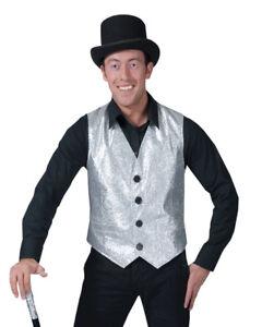 Silver Vest Poly Adult Men's Costume Lined shiny Fancy Dress  Funny Fashion