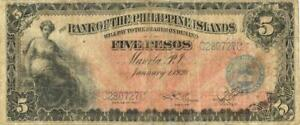 Philippines U.S. Administration 5 Pesos Currency Banknote 1920