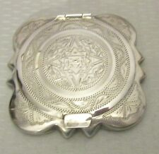 vtg Mexican STERLING SILVER COMPACT finely hand tooled Mayan etching 72g
