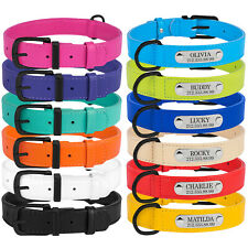 Leather Dog Collar Personalized Nameplate Optional Engraved ID TAG S M L XL