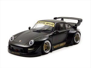 Autoart Porsche RWB 993 1/18 Model Car Matt Black with Gold Wheels 78154 NEW
