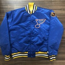 Vintage STARTER St. Louis Blues 80's Satin Bomber Jacket NHL Hockey Blue Large L