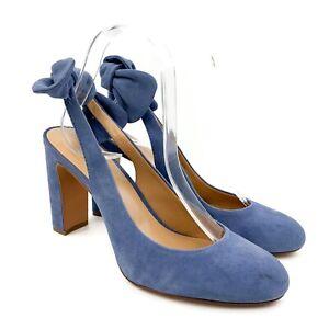 BANANA REPUBLIC Womens Light Blue Suede Leather Bow Sling Back Heels Sz 8.5 M