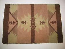 Vtg Area Door Floor Mat Carpet Woven Rug Southwestern Pattern Pink Beige Brown