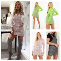 New Women's Ladies Woven Knit Tweed Check Pocket Ring Detail Pinafore Mini Dress