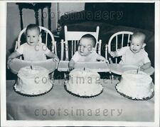 1946 Adorable Triplets With 1 Year Birthday Cakes Mantitoc WI Press Photo