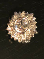 Vintage Collectible Sun With Face Colorful Metal Pinback Lapel Pin Hat Pin