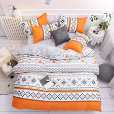 New Orange Geometry Bedding Set Duvet Quilt Cover+Sheet+Pillow Case Four-Piece