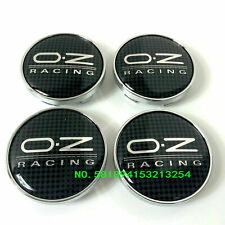 4 x OZ Racing 60mm Alloy Wheel Hub Centre Caps Cap Black Silver (Carbon Fiber)