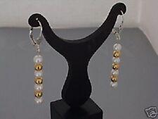 925 echt Silber Brisuren Ohrringe Ohrhänger Süßwasserperlen Goldkugeln Damen