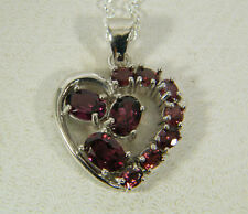 NECKLACE:  AAA PURPLE/RASPBERRY OVAL&ROUND RHODOLITE GARNET 925 STERLING SILVER