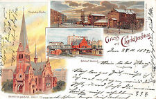 Berlin-Charlottenburg Bahnhof , Trinitatis - Kirche Litho Postkarte 1899