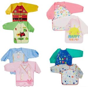 MOTHERCARE 2 pack Bibs Baby Waterproof Coverall Long Sleeved Weaning Apron BNWT