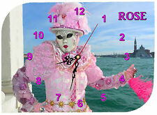 horloge pendule murale venise carnaval personnalisée prénom au choix réf F 38