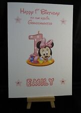 Personalised & Hand Made Minnie Mouse 1st Birthday Card Daughter, Granddaughter