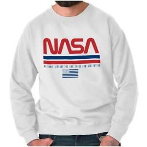 NASA Space Program Retro Worm Logo Patriotic Womens or Mens Crewneck Sweatshirt