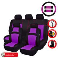Universal Car Seat Covers Purple Black Steering Wheel Cover For SUV VAN TRUCK