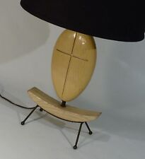 VINTAGE 1950s MODERNIST IRON WOOD SCULPTURAL ABSTRACT TABLE LAMP LIGHT
