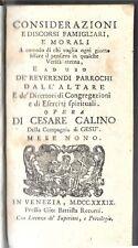 """1739 - CESARE CALINO """"Considerazioni e discorsi famigliari e morali ... """""""